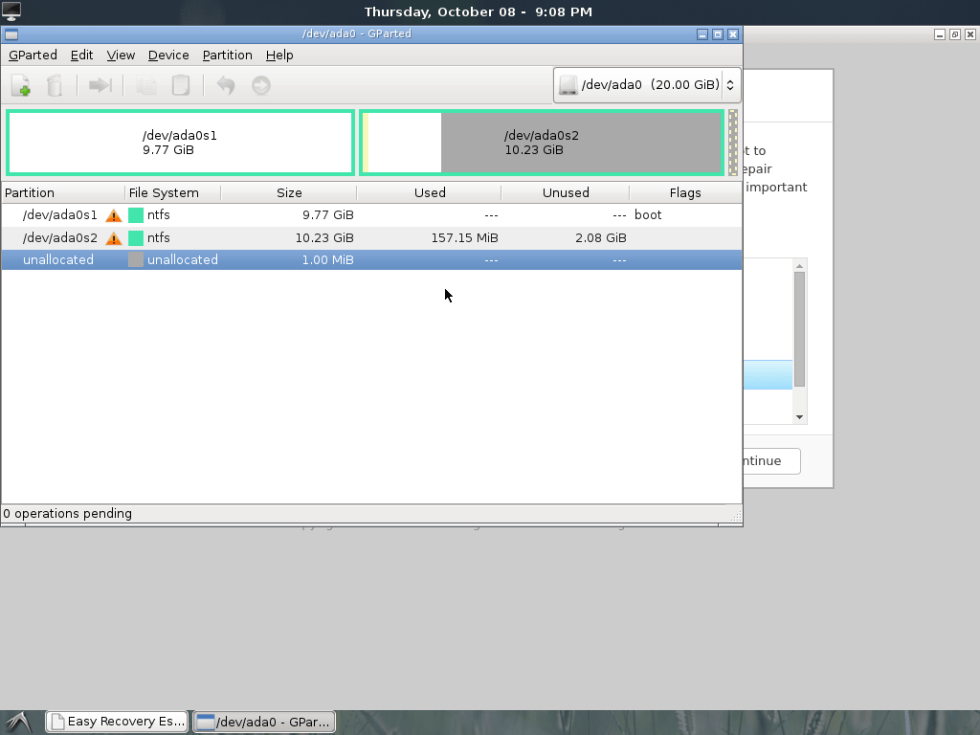 EasyRE GParted partition editor
