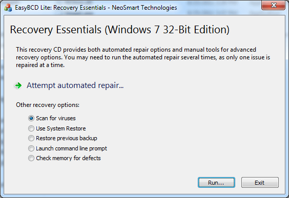 Recovery Essentials screen