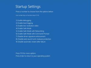 The Advanced Boot Options menu on Windows 8