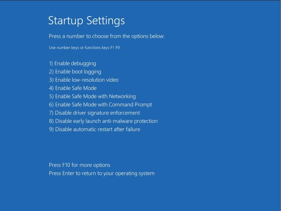 Windows 8 Advanced Boot Options/Startup Settings