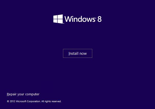 Windows 8 Repair Your Computer Menu