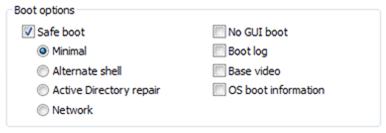 Boot options menu in Windows