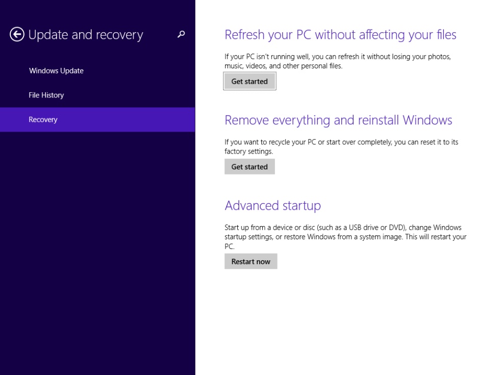 Windows 8 Recovery Screen