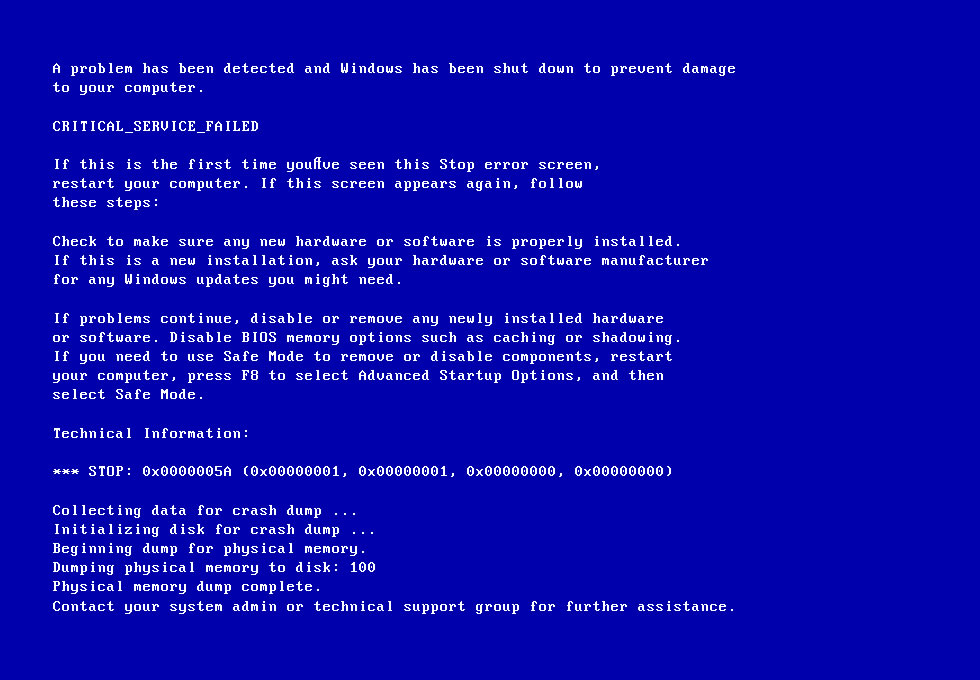 0x0000005A: Fix for Windows XP, Vista, 7, 8, 8,1, 10