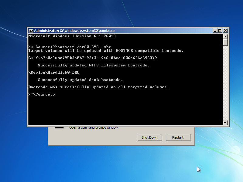 Windows 7 bootsect utility results screen