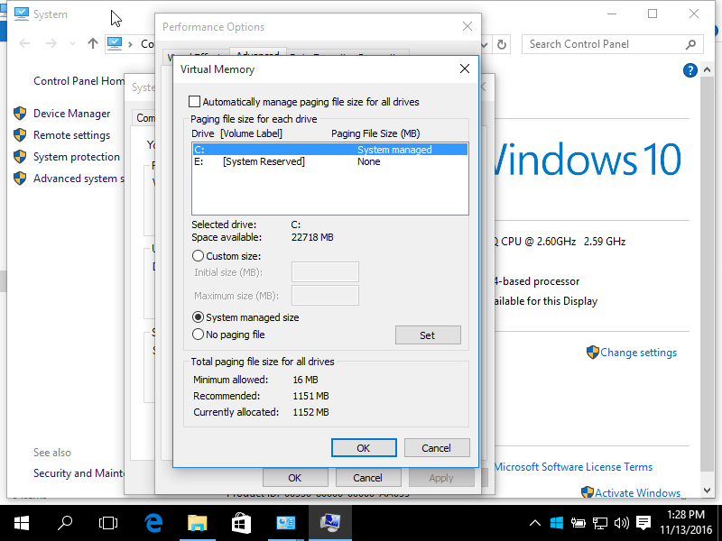 Windows 10 Paging file settings screen