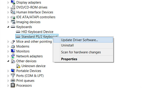 Device Manager: Update Driver Software