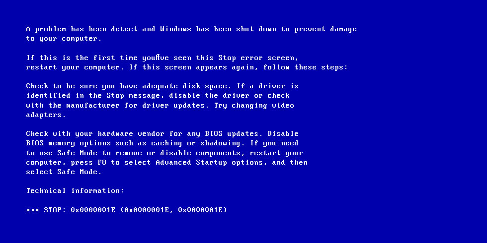 Screenshot of 0x0000001E error
