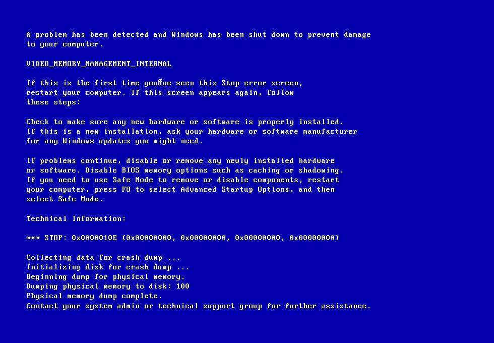 0x0000010E error screen