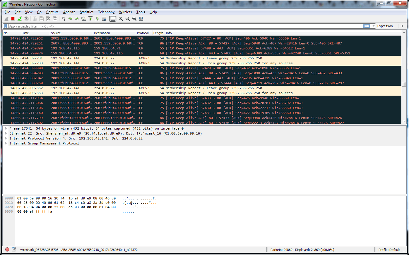 Analyse Wireshark Trace