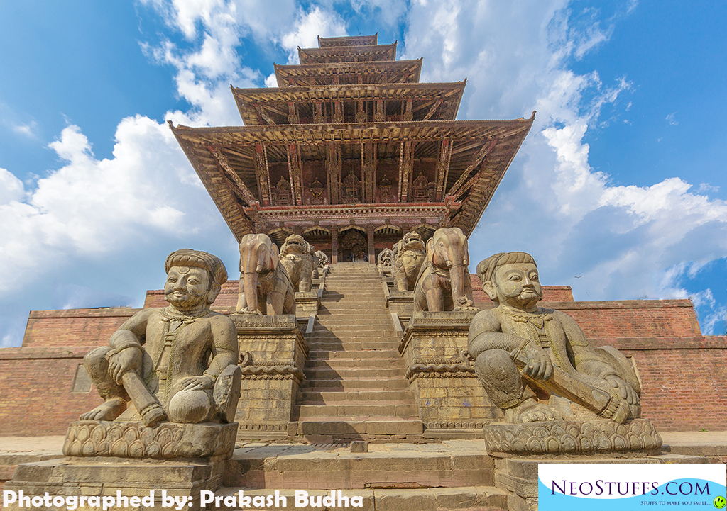 The Nyatapola Temple is located in Taumadhi Square, Bhaktapur, Nepal which is about 12 km from Kathmandu city.