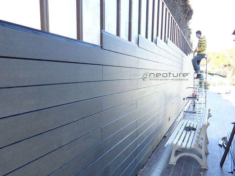instalación revestimiento exterior madera sintética