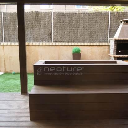 jardineras revestidas en madera sintética exterior composite