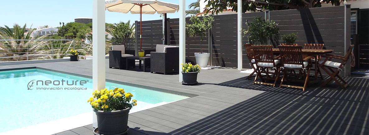 Tarima sintetica madera exterior terraza piscina neoture for Suelo exterior piscina