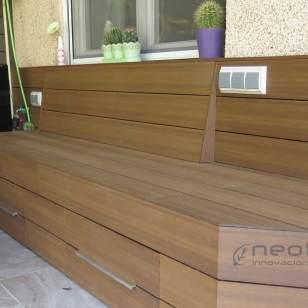 Revestimiento banco exterior jardin en tarima composite NeoCros Ipe.
