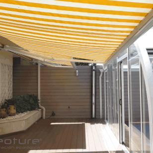 Vallado exterior en madera composite color sand.