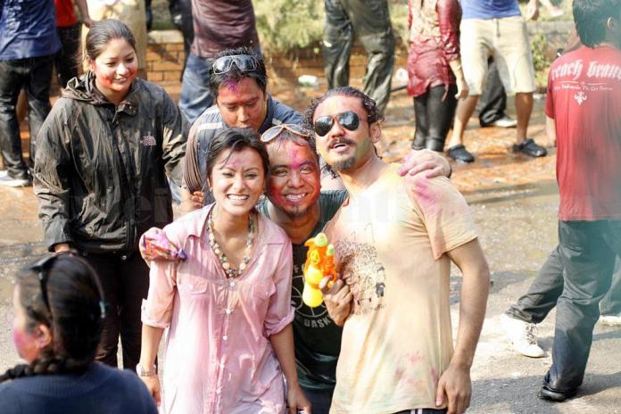 Namrata Shrestha Celebrating holi 2013 5