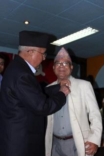 KP Oli Minister Nepal CPN UML With Madhav Nepal