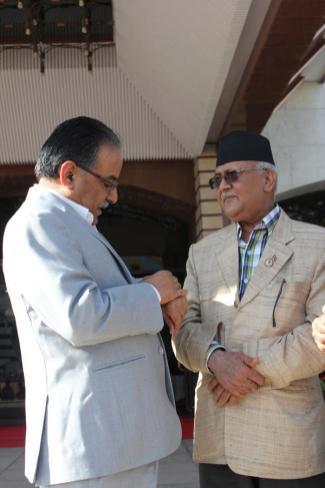 KP Oli Minister with Prachanda Pushpa Kamal Dahal Nepal