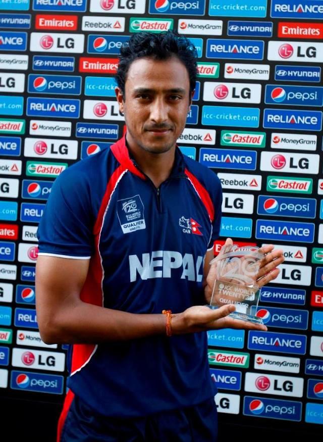 Paras Khadka after winning the match - Man of the Match