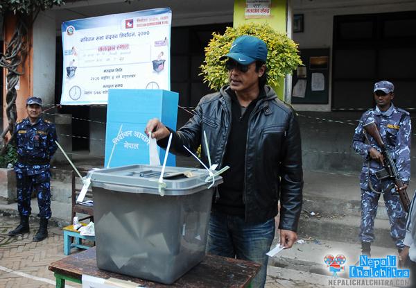 Rajesh Hamal voting yesterday Nepal