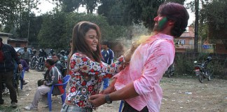 Rekha Thapa Playing holi 3