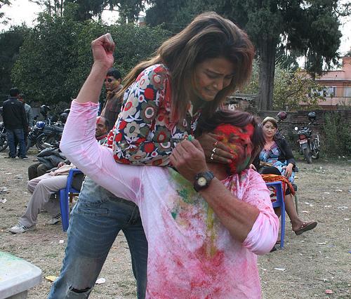 Rekha Thapa Playing holi 5