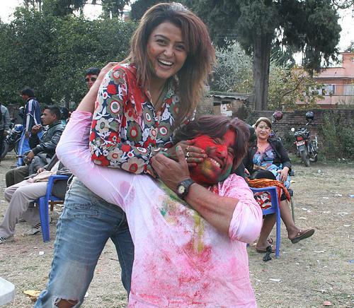 Rekha Thapa Playing holi 6