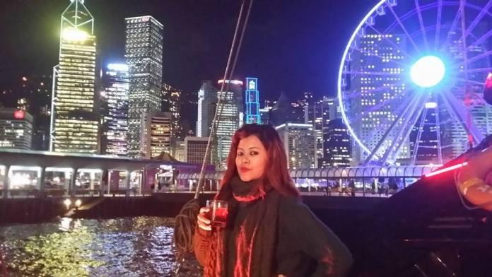 Sushma Karki infront of Hong Kong