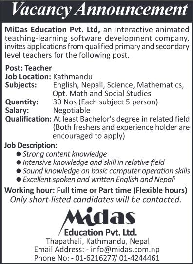 job for teacher   midas education pvt ltd  u2013 job finder in