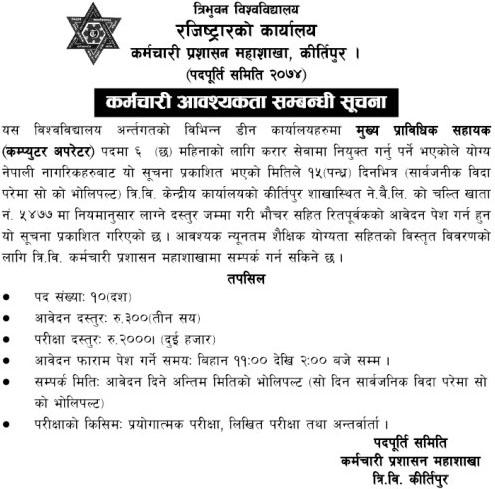 Government Job Vacancy in Tribhuvan University, Computer