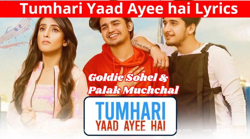Tumhari Yaad Ayee hai Lyrics - goldie sohel & Palak muchchal