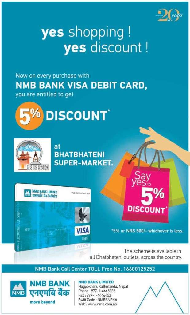 Use NMB Bank VISA Debit Card at Bhatbhateni Super Market, get 5% discount