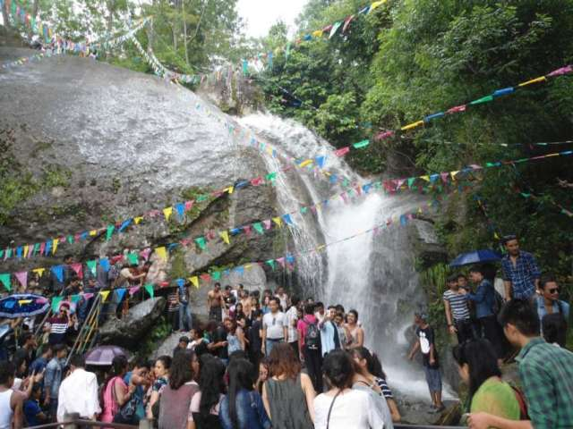 People enjoying waterfall at Jhor, Kathmandu.