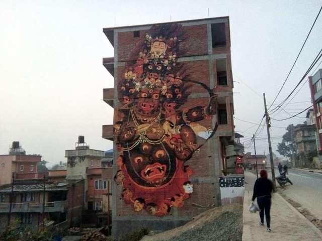 Beautiful street art near Swaymbhu, Kathmandu.