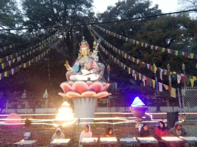 Large Buddha statue at bottom of Swayambhu.