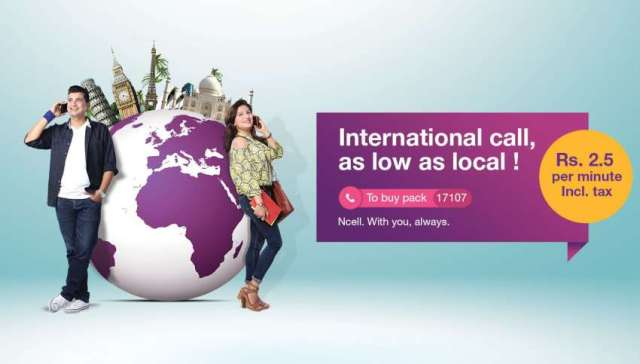 Ncell brings 'International Call Pack' Rs 2.50 per min for 20 countries