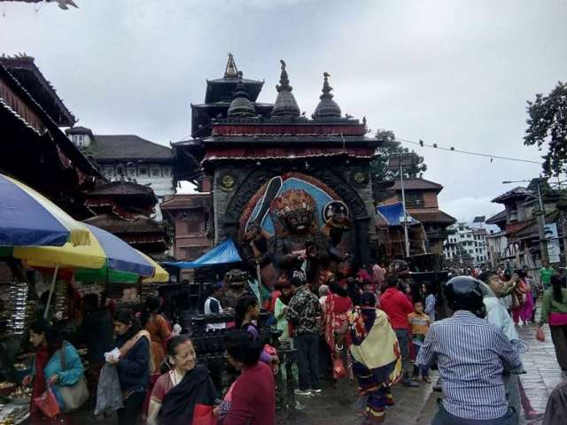 Kal Bhairav at Hanuman Dhoka Durbar Square is considered as one of the powerful temples in Kathmandu valley.