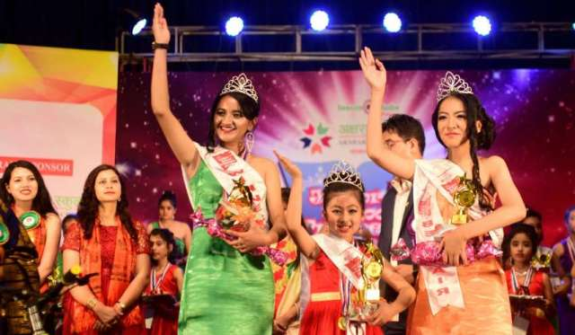 Group A winner Parnia Shrestha, Group B winner Isha Thapa Magar and Group C winner Eva Gira at Aksharaa Junior School Princess 2018 Season 7 event held at Rastrya Nachghar on Tuesday, April 23, 2018.