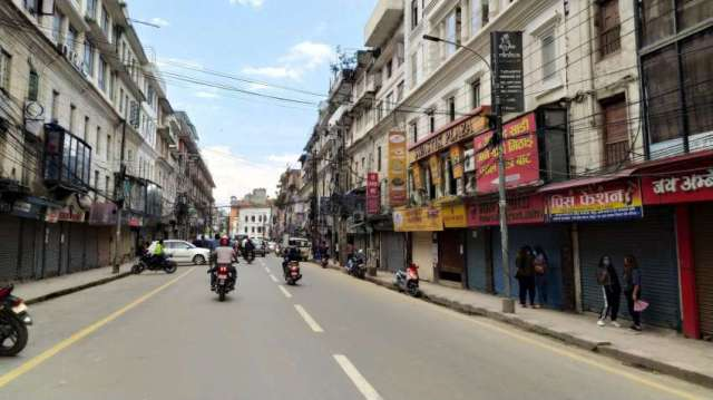 New Road, major commercial areas of Kathmandu, sealed by the Kathmandu District Administration Office due to increase in virus infections in the area.