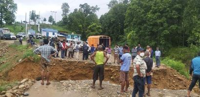 East-West Highway obstructed after diversion swept away