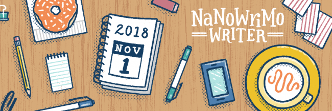 Tackling NaNoWriMo header with writing supplies for November
