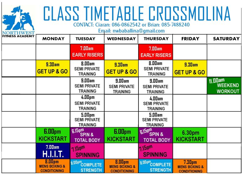 Boxing Academy Timetable