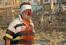 Wounded man on Lebanon