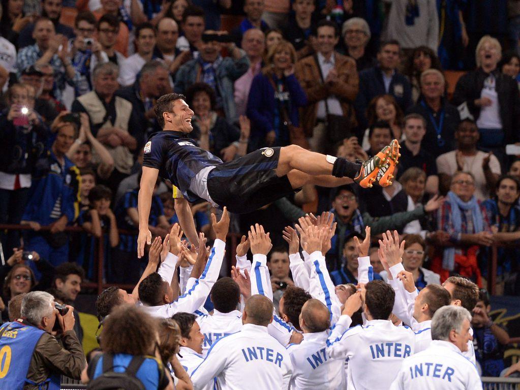 Internazionale legend Javier Zanetti at his last match before retiring