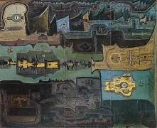 Vladimir Yankilevsky, Pentaptych No. 1: Atomic Station. Fragment. Oil, cardboard. 154х615,5. 1962. Ludwig Museum, Cologne. Soviet Nonconformist Art. Picture taken from here: http://iskusstvo.msk.ru/2003/1/03_30_35.htm