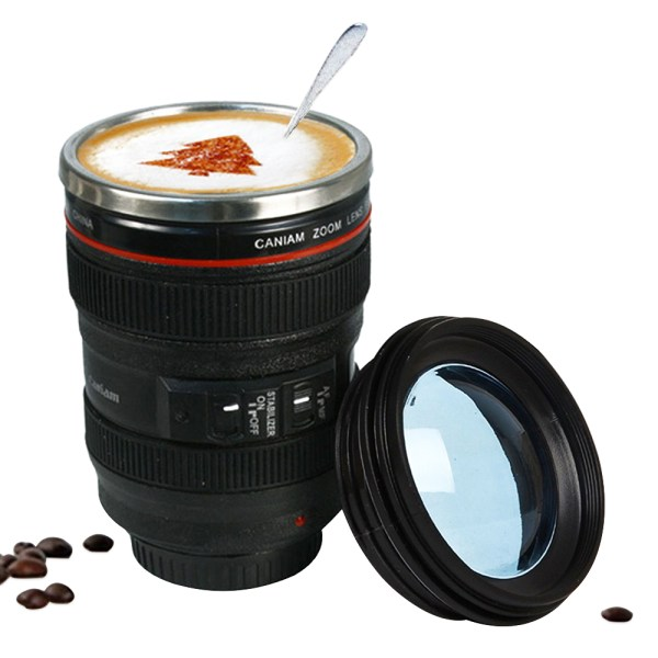 Stylish Large-Capacity Camera Lens Shaped Stainless Steel Mug with Lid