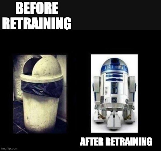 Retraining models before and after