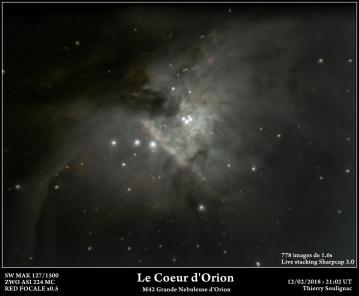 Le Cœur de la Nébuleuse d'Orion prise au MAK 127 avec une ASI 224 MC Rapport F/D à 6 (réduction focale à 750mm) 778 poses de 1.6s soit un total de 1244s ou 20 minutes. Alignement directement issu de la fonction Livestaking de Sharpcap 3.0. Cosmétique sous LR5