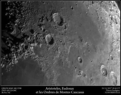 Les Ombres de Montes Caucasus prêt de Aristoteles et Eudoxus Orion MAK 180/2700 ZWO ASI 224 MC Filtre IR Pro 742